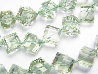 天然石卸 宝石質グリーンアメジストAAA ダイスカット サイズグラデーション 1連(約38cm)