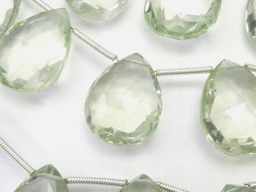 宝石質グリーンアメジストAAA 大粒ペアシェイプ ブリオレットカット 半連/1連(約18cm)