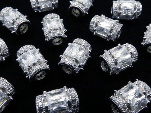 メタルパーツ ロンデル(チューブ)9×7×7mm シルバーカラー(CZ付) 1個