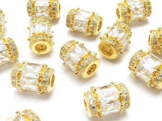 天然石卸 メタルパーツ ロンデル(チューブ)9×7×7mm ゴールドカラー(CZ付) 1個380円!