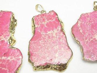 天然石卸 1個480円!ピンクカラーカオリン スライスタンブル 大粒ペンダントトップ ゴールドカラー 1個