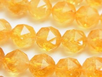 天然石卸 素晴らしい輝き!シトリンAA++ スターラウンドカット12mm 1/4連〜1連(約37cm)