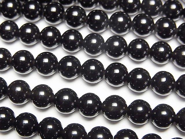 【動画】ロシア産モリオン(黒水晶)AAA ラウンド6mm 半連/1連(約38cm)