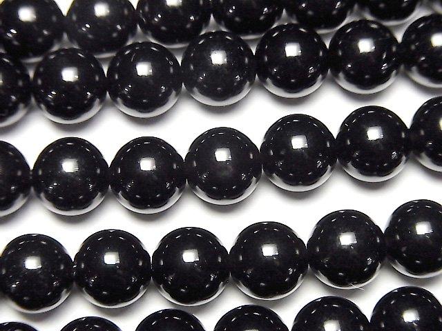 ロシア産モリオン(黒水晶)AAA ラウンド8mm 半連/1連(約37cm)