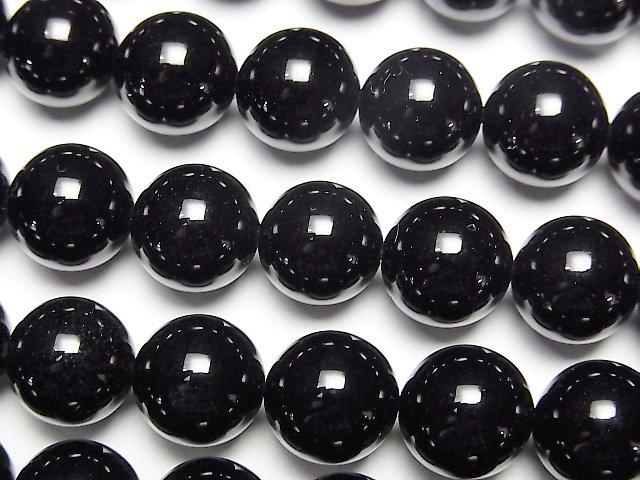 ロシア産モリオン(黒水晶)AAA ラウンド10mm 1/4連〜1連(約37cm)