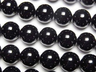 天然石卸 ロシア産モリオン(黒水晶)AAA ラウンド10mm 1/4連〜1連(約37cm)
