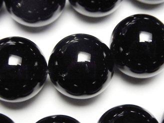 天然石卸 ロシア産モリオン(黒水晶)AAA 大粒ラウンド20mm 1/4連〜1連(約35cm)