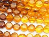 天然石卸 バルティックアンバー(琥珀) コイン6×6×3 カラーグラデーション 半連/1連(約42cm)