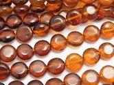 天然石卸 バルティックアンバー(琥珀) コイン7×7×4 カラーグラデーション 半連/1連(約42cm)