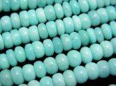 天然石卸 ペルー産アマゾナイトAA++ ロンデル(ボタン)6×6×3 半連/1連(約38cm)