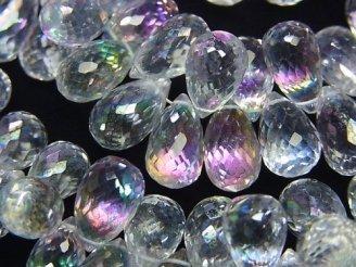 天然石卸 宝石質ミスティッククリスタルAAA 大粒ドロップ ブリオレットカット 5粒〜1連(約18cm)