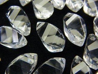 天然石卸 宝石質クリスタルAAA ドロップ4面ツイスト ブリオレットッカット13×7×7 4粒〜1連(約10cm)