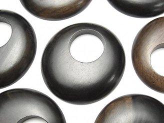 天然石卸 2枚420円!エボニー(黒壇) コイン(ドーナツ)40×40×6 2枚