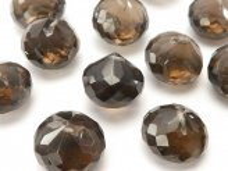 天然石卸 粒売り!宝石質スモーキークォーツAAA- 大粒オニオン ブリオレットカット 8粒2,480円!
