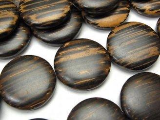 天然石卸 1連480円!ウッドビーズ コイン20×20×5 1連(約38cm)