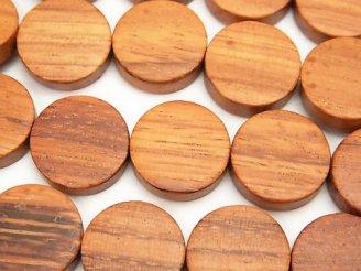 天然石卸 1連380円!ウッドビーズ コイン15×15×5mm 1連(約38cm)