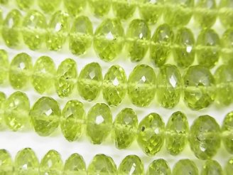 宝石質ペリドットAAA 大粒ボタンカット 半連/1連(約36cm)
