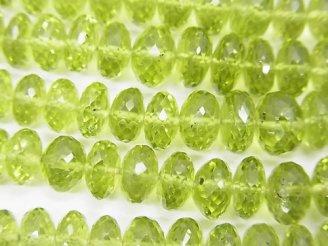 天然石卸 宝石質ペリドットAAA 大粒ボタンカット 半連/1連(約36cm)