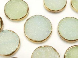 天然石卸 粒売り!グリーンカルセドニー ドゥルージー 枠付きコインシェイプ 3粒2,480円!