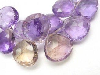 天然石卸 1点もの!宝石質アメトリンAAA マロン ブリオレットカット 1連(約21cm) No.1