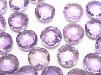 天然石卸 宝石質アメジストAAA-〜AA++ 穴なしコインカット8×8×4 5粒780円!