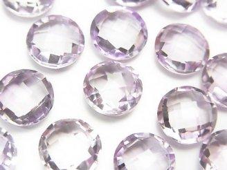 天然石卸 宝石質ピンクアメジストAAA 穴なしコインカット10×10×5 4粒780円!