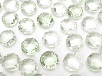 天然石卸 宝石質グリーンアメジストAAA 穴なしコインカット7×7×3 8粒680円!