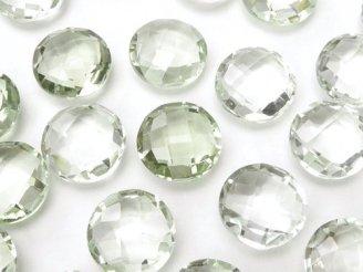 天然石卸 宝石質グリーンアメジストAAA 穴なしコインカット10×10×5 4粒780円!