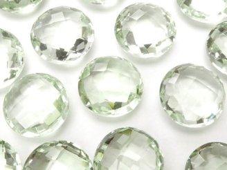 天然石卸 宝石質グリーンアメジストAAA 穴なしコインカット12×12×6mm 2粒680円!