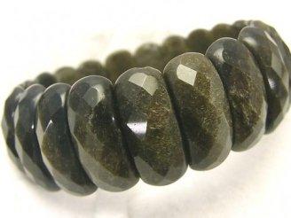 天然石卸 ゴールデンシャインオブシディアンAAA 2つ穴縦長オーバルカット25×10×7mm 1連(ブレス)