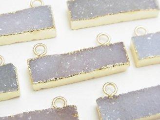 天然石卸 2個1,480円!ドゥルージーアゲート〜クォーツ レクタングル カン付き(2ヶ) ゴールドカラー 2個