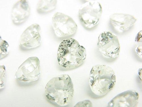 宝石質グリーンアメジストAAA ハートシェイプカット 6×6×3mm 10粒〜1連(ブレス)
