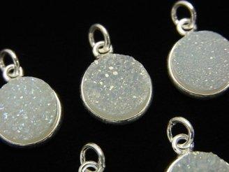 天然石卸 ドゥルージークォーツ 枠付きコイン11mm ABコーティング Silver925製 1個680円!