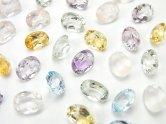 天然石卸 宝石質いろんな天然石AAA オーバル ファセットカット8×6×4 12粒・1連(ブレス)