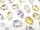 天然石卸 宝石質いろんな天然石AAA オーバル ファセットカット9×7×4 8粒・1連(ブレス)