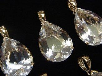 天然石卸 宝石質クリスタルAAA ペアシェイプファセットカット 【14×9】【17×12】【21×15】 ペンダントトップ 18KGP製