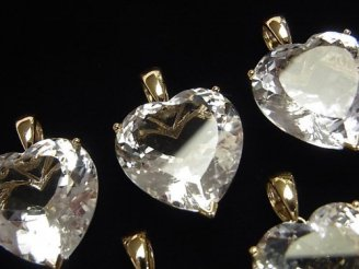 宝石質クリスタルAAA ハート型ファセットカット ペンダントトップ 【10mm】【15mm】【18mm】 18KGP 1個