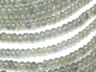 天然石卸 1連1,580円〜!宝石質モスアクアマリンAAA ロンデル(ボタン) 1連(約34cm)