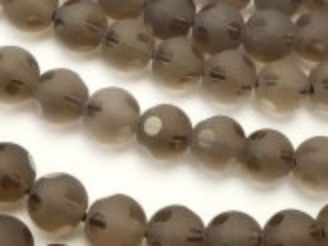 天然石卸 スモーキークォーツ 水玉柄ラウンドカット8mm 半連/1連(約38cm)