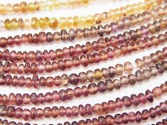 天然石卸 1連1,780円!宝石質マルチカラーガーネットAAA ロンデル(ボタン) 1連(約32cm)