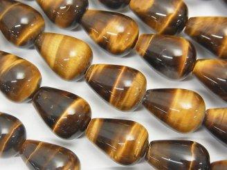 天然石卸 1連980円!イエロータイガーアイAAA- 縦穴ドロップ(プレーン)14×10×10mm 1連(約36cm)