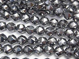 天然石卸 素晴らしい輝き!高純度テラヘルツ鉱石 スターラウンドカット6mm 1/4連〜1連(約37cm)