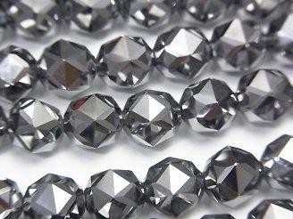 天然石卸 素晴らしい輝き!高純度テラヘルツ鉱石 スターラウンドカット8mm 1/4連〜1連(約37cm)