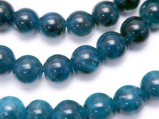 天然石卸 1連3,980円!ブラジル産ブルーアパタイトAAA-〜AA++ ラウンド8mm 1連(ブレス)