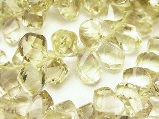 天然石卸 宝石質レモンクォーツAAA ドロップ4面ツイスト ブリオレットッカット【10×5】【14×6】 3粒〜