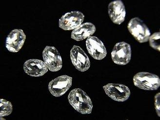 天然石卸 1粒37,800円!ホワイトダイヤモンドAAA ドロップ〜ペアシェイプ ブリオレットカット 1粒
