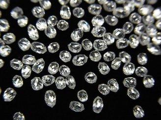 天然石卸 ホワイトダイヤモンドAAA ドロップ〜ペアシェイプ ブリオレットカット 3粒24,800円!