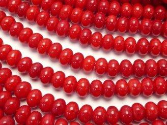 天然石卸 1連680円!赤珊瑚・レッドコーラル(染) ロンデル(ボタン)5×5×3mm 1連(約38cm)