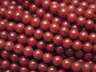 天然石卸 1連480円!赤珊瑚・レッドコーラル(染) ラウンド4mm 1連(約38cm)