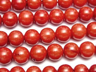 天然石卸 1連880円!赤珊瑚・レッドコーラル(染) ラウンド8mm 1連(約37cm)